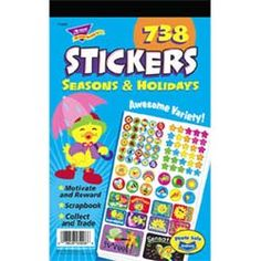 """Seasons and Holidays Sticker Pad Surprise students every time! Themed assortment pads are 5 3/4"""" x 9 1/2"""" each and feature hundreds of fun, unique stickers from TREND's popular sticker families: Applause STICKERSandreg;, superShapes Stickers, superSpotsandreg; Stickers, Sparkle Stickersandreg;, and Foil Bright Stickers. $2.85"""