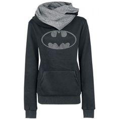 Batman Print Drawstring Hooded Hoodie