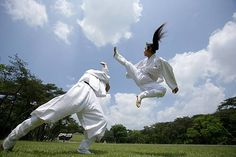 Taekkyeon is a traditional Korean martial art that makes use of fluid, rhythmic dance-like movements to strike or trip up an opponent.