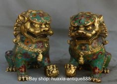 """5"""" Chinese Royal Cloisonne Enamel Brass Fengshui Foo Dog Guardion Door Lion Pair in Antiques, Asian Antiques, Statues 