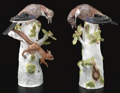 A pair of Meissen figures of Oak-Jays (Eichelhäher), the porcelain circa 1740-45.