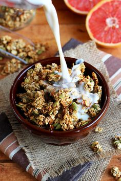 Sweet Pumpkin Seed Protein Granola - This vegan granola gets an extra boost of protein courtesy of its secret ingredient... Lentils! - ilovevegan.com #vegan #highprotein #soyfree