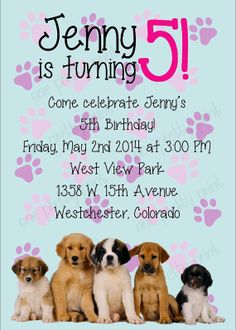 Puppy Party Invitation Puppy Pawty Dog Birthday Party Invite