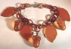 Apple-Juice-BAKELITE-CELLULOID-LUCITE-ACORN-w-Rhinestones-LEAF-CHARMS-Bracelet Asking $175 BIN eBay +$8 Ship