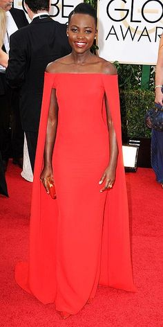 Golden Globes 2014: Lupita Nyong'o - Love the off-the-shoulder cape look! Saw a coat in S.F. with similar lines (with collar) this winter but could never find the brand! In other news, SO MANY high low dresses at the Golden Globes... adorable! But so 2013!!