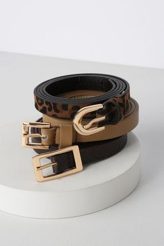 7fe8683a160e3 Add the Lulus Something Extra Brown Multi Belt Set to your OOTD! This belt  set features three vegan leather skinny belts in black, crocodile, and  leopard.