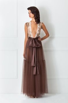 BROWN TULLE ROBE