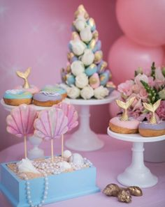 Mermaid Wonderland Birthday Party Ideas, Mermaid Tail Cupcakes, Pastel Mermaid Party, Mermaid Party Photos, Mermaid and Seahorse Decorations Barbie Birthday, Mermaid Birthday, Unicorn Birthday Parties, Birthday Ideas, 5th Birthday, Birthday Wishes, Mermaid Bridal Showers, Bridal Shower Cakes, Mermaid Party Decorations