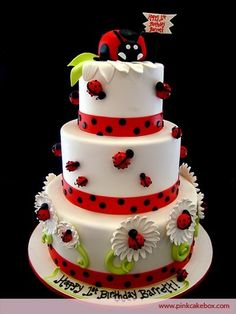 Ladybug Cake (by Pink Cake Box) Pretty Cakes, Cute Cakes, Beautiful Cakes, Amazing Cakes, Fondant Cakes, Cupcake Cakes, Owl Cupcakes, Fruit Cakes, Super Torte