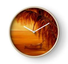 Clock, artistic,decorative,items,palmtrees,tropical,boat,sunset,orange,modern,beautiful,awesome,cool,home,office,wall,decor,decoration,ideas,for sale,redbubble