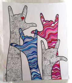"""Deaf Art - """"Signs for Love Speak Loud"""" © Copyright Ashley Shaffer (www.etsy.com/shop/ashmariesha)"""