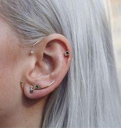 Jennie Kwon Long Curved Emerald Bar Stud Back, Studs and Ear Hook