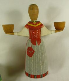 Carved wood lady candle holder stockholm sweden hand painted 7 3/4 in wide 9 in