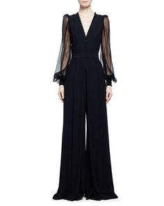 Sheer-Sleeve Wide-Leg Crepe Jumpsuit, Black by Alexander McQueen at Neiman Marcus.
