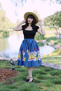 Pinup Girl Clothing Pinup Couture Jenny Skirt in Mary Blair Clown Border Print…