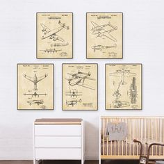 Vintage patent art world war II Airplane  poster sets  5 in 1 Airplane Nursery Plane Wall Art classic aircraft * Learn more by visiting the image link. #HomeDecor