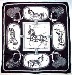 "Vintage 1962 HERMES Paris GRAND APPARAT Jacques Eudel Black White 35"" Silk Scarf"