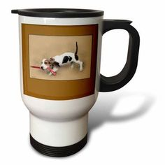 3dRose Digital painting of a Bassett hound puppy pulling on the leash Lead The Way, Travel Mug, 14oz, Stainless Steel