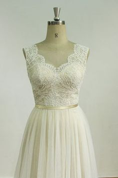 Romantic Ivory Backless tulle lace wedding dress by MermaidBridal