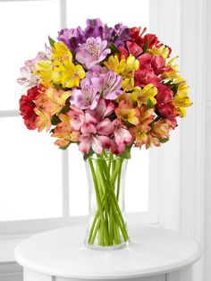 FTD® Pick Me Up® Rainbow Discovery Peruvian Lily Bouquet Flowers Online - Lily Bouquet, Bouquet Flowers, Fresco, Send Flowers Online, Peruvian Lilies, Same Day Flower Delivery, Glass Vase, Floral Wreath, Bloom