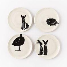 Playful animal plates
