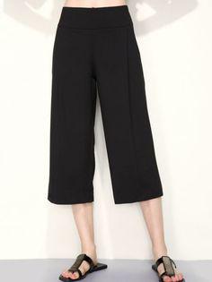 Solid Color Wide Leg Crop Pants