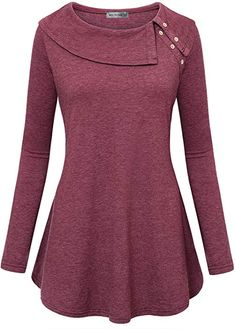 Miss Fortune Women Long Sleeve Cowl Neck Flowy Tunic Top with Pockets (Wine, Large) at Amazon Women's Clothing store: