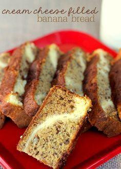 Delicious Non-Yeast Cream Cheese filled Banana Bread - YUMMY!! { lilluna.com }