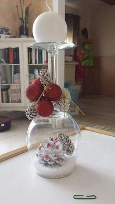 30 Cheap and Easy Homemade Wine Glasses Christmas Candle Holders Christmas Candle Holders, Christmas Candles, Christmas Centerpieces, Christmas Decor, Wine Glass Centerpieces, Christmas Snow Globes, Cheap Christmas, Xmas, Homemade Christmas