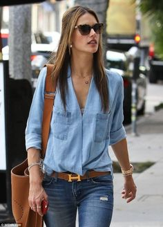 Alexandra Ambrosio wears double denim with ease! The collarless shirt is awesome. | How to Wear the Double Denim Trend