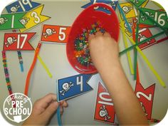 Pirate flag count is a fun way to develop counting concepts, hand eye coordination, and fine motor strength. Perfect for preschool & pre-k! Preschool Pirate Theme, Pirate Activities, Eyfs Activities, Motor Activities, Preschool Themes, Toddler Activities, Maths Eyfs, Pirate Day, Pirate Flags