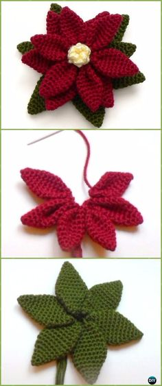 Crochet Poinsettia Flower Free Patterns - Crochet Poinsettia Christmas Flower Free Patterns