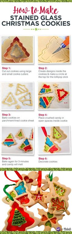 How to make stained glass Christmas cookies(Cake Decorating Christmas) Cut Out Cookies, Holiday Cookies, Cupcake Cookies, Holiday Treats, Holiday Recipes, Baking Cookies, Baking Desserts, Christmas Recipes, Sugar Cookies