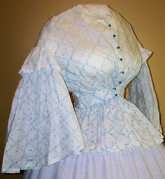 Absolutely wonderful cotton bodice printed with tiny horses! c.1858