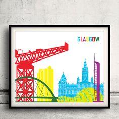Glasgow pop art skyline  Fine Art Print Glicee by Paulrommer