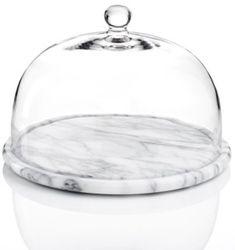 Godinger Serveware La Cucina Marble Round Tray with Glass Dome