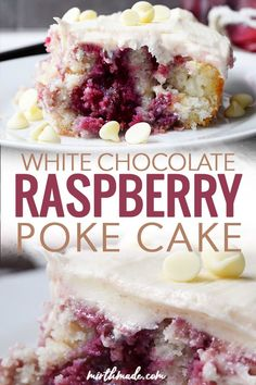 White Chocolate Raspberry Poke Cake White Chocolate Raspberry Poke Cake – this easy poke cake recipe combines white chocolate filling and chips with delicious homemade raspberry syrup into a delicious cake recipe that's perfect for your next party! Delicious Cake Recipes, Easy Cake Recipes, Yummy Cakes, Easy Desserts, Easy Birthday Desserts, White Cake Recipes, Simple Dessert Recipes, Health Desserts, Poke Cakes
