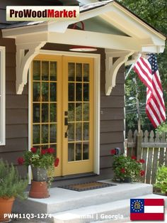 Super Genius Cool Tips: Garden Canopy Architecture canopy tent simple. French Doors, Yellow Doors, Front Door Awning, House Front, House Exterior, Porch Design, Front Door, Porch Roof, Portico