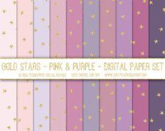 modern digital paper - hand drawn glitter gold stars - pinks - purples - wedding digital background - printable scrapbook paper - web design