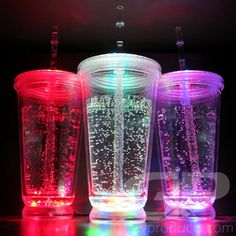 - 14 oz Light Up LED No-Spill Drink Cup with Lid - 8 Bright Color and Light Settings! - Use as a Glowing Sippy Cup or Lighted Travel Cup!