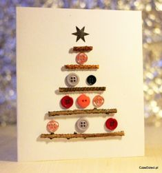 Kartka świąteczna z guzikami - DIY
