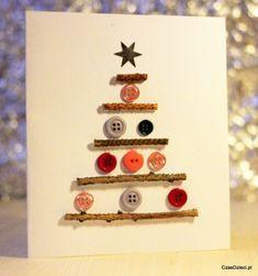Kartka świąteczna z guzikami - DIY Christmas Buttons, Diy Christmas Cards, Christmas 2019, Christmas Crafts, Xmas, Envelopes, Button Cards, Christmas Activities, Creative Kids