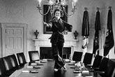 Betty Ford dances on a Cabinet table in the White House her last day as First Lady!  You go, Girl!  She had been a professional dancer in her younger years!