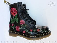 Custom Doc Martens Boots  Skulls and Roses Hand Painted