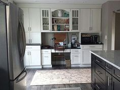Pine Beach New Jersey kitchen and adjacent home office renovation features CliqStudios Dayton Painted White and Birch Sable cabinets