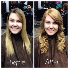 Long hair blonde, flat iron curled, long layers