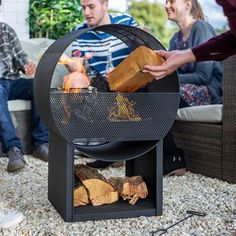 Buy Camacha steel round fireplace - Round steel perforated outdoor fireplace: Delivery by Crocus Outdoor Fireplace Patio, Fire Pit Patio, Fire Pits, Outdoor Projects, Outdoor Decor, Outdoor Tables, Outdoor Living, Stove Heater, Patio Fence