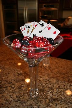 martini glass decor bacon wrapped food roulette shot glasses red carnation topiary bathroom signs cards on glasses Casino Party Casino Party Foods, Casino Night Party, Casino Theme Parties, Party Themes, Party Ideas, Theme Ideas, Themed Parties, Las Vegas Party, Harlem Nights Theme Party