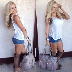 Love the boots but I would have worn a cute pair of sandals with this
