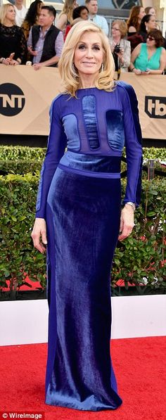 Jewel tones: Transparent star Judith Light made a bold statement in blue velour, Mayim Bia...